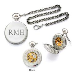 Silver Tone Engraved Pocket Watch with 18K Gold Accents (1-3 Initials) - Zales