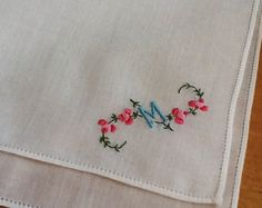 Vintage Hanky, Embroidered Handkerchief, Ladies Handkerchief, Cotton Hankies…