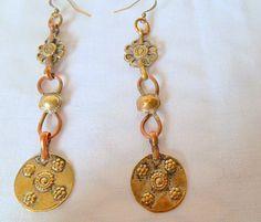 Vintage old long Kuchi metal dangling Earrings by houuseofwren