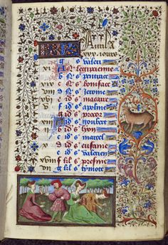 A bull, symbol of the zodiacal sign of Taurus, features in the border of a page for April in the 'Dunois Hours', a French illuminated manuscript, c.1440-c.1450; (Yates Thompson 3 f.4) (British Library)