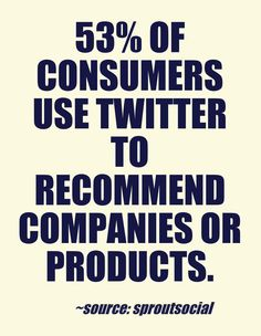 50% of consumers use Twitter to recommend companies or products. #socialmedia #twitter #commerce