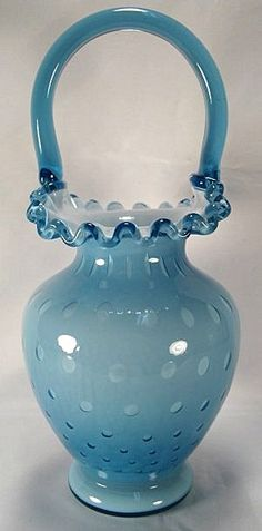 Fenton 9 3/4 inch t. Bubble Optic Basket, Blue Overlay