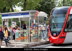 Tram stop at Sultanahmet Istanbul Turkey Stock Photo