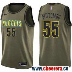 58f0ccb7d29 Men s Nike Denver Nuggets  55 Dikembe Mutombo Green Salute to Service NBA  Swingman Jersey Emmanuel