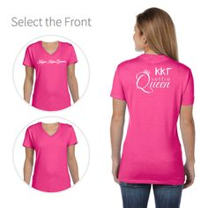 Kappa Kappa Gamma T-shirt with Selfie Queen & Greek Letters on the back optional sorority name on the front.#kappakappagamma #kappa http://manddsororitygifts.com/kappa-kappa-gamma-v-neck-t-shirts/