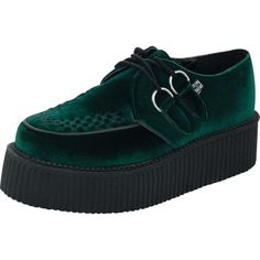 Emerald Green Velvet Round Toe Mondo Creepers ($70) ❤ liked on Polyvore featuring shoes, round toe shoes, velvet shoes, emerald green shoes, round cap and creeper shoes
