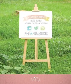 Photo Hashtag Watercolor Wedding Sign . Social Media Sharing . Outdoor Wedding…