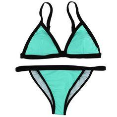 Sexy Women Swimsuit Micro Bikini Set Bathing Suits Solid Black Patchwork Swimwear bottom