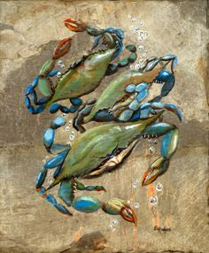 Blue Crabs Canvas Print by Elaine Hodges. All canvas prints are professionally printed, assembled, and shipped within 3 - 4 business days and delivered ready-to-hang on your wall. Choose from multiple print sizes, border colors, and canvas materials. Canvas Art, Canvas Prints, Art Prints, Blue Canvas, Crab Painting, Blue Painting, Silk Painting, Crab Art, Louisiana Art