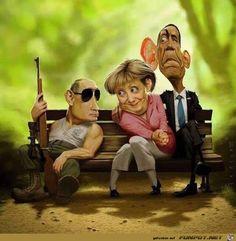 political situation these days, Putin, Merkel Obama Funny Walmart Pictures, Funny Cartoon Pictures, Funny Photos, Random Pictures, Funny Caricatures, Celebrity Caricatures, Satire, Funny Cartoons, Funny Jokes