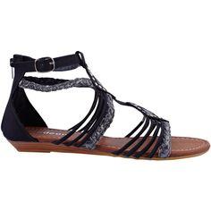 Black Una Stud Gladiator Sandals ($14) ❤ liked on Polyvore featuring shoes, sandals, gladiator sandals shoes, studded gladiator sandals, black shoes, black studded sandals and gladiator sandals