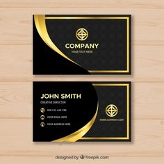 Golden black logo Vectors, Photos and PSD files | Free Download Gold Business Card, Luxury Business Cards, Minimalist Business Cards, Elegant Business Cards, Free Business Cards, Business Card Design, Design Plano, Id Card Template, Visiting Card Design