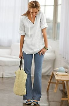 linen tie-front shirt