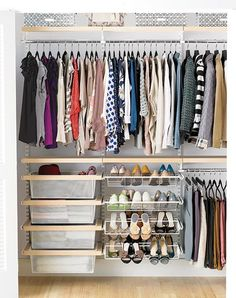 Our elfa shelving solutions are beautiful and functional and perfect for any sized closet.
