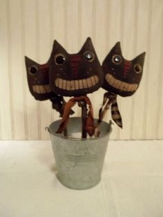 Primitive Grungy Set of Three Black Cat Halloween Doll Crock Pokes Picks #NaivePrimitive