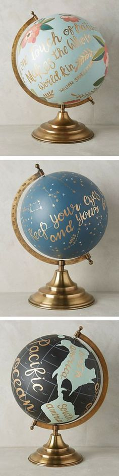 Christmas DIY: Gorgeous hand painte Gorgeous hand painted globes - perfect gift for travelers! Painted Globe, Hand Painted, Craft Projects, Projects To Try, Diy Y Manualidades, Diy Casa, Creation Deco, Ideias Diy, Diy Décoration