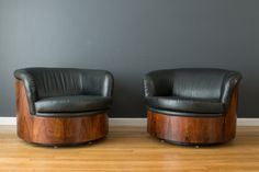 Pair of Rare Vintage Mid-Century Rosewood Barrel Club Chairs by Plycraft :: 2,900.00