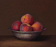 "Daily Paintworks - ""Peaches in a Copper Bowl"" - Original Fine Art for Sale - © Abbey Ryan"