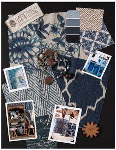 Lacefield Designs #Indigo #textile #moodboard   www.lacefielddesigns.com