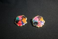 Vintage Costume Jewelry Gold Tone and Multi Color Enamel Post Back Earrings by KattsCurioCabinet on Etsy