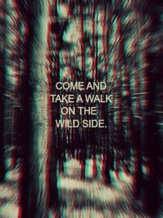 """come take a walk on the wild side. wanna kiss you hard in the pouring rain."" 
