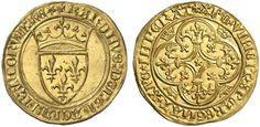 France AV Ecu d'or a la Couranne Emission date 29.7.1394 Rouen Mint Charles VI