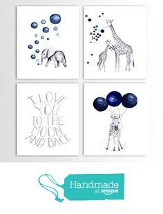 Baby Boy Gift, Navy Blue Nursery, Elephant Decor, Giraffe, Zebra, Animal Nursery Art - Set of Four Art Prints from TheDaisyFields