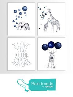 Baby Boy Gift, Navy Blue Nursery, Elephant Decor, Giraffe, Zebra, Animal Nursery Art - Set of Four Art Prints from TheDaisyFields http://www.amazon.com/dp/B01DKPBSD4/ref=hnd_sw_r_pi_awdo_LTboxb15STR4D #handmadeatamazon