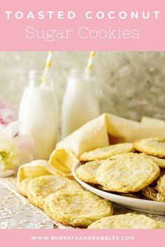 Searching for the perfect summer cookies? You'll love these toasted coconut sugar cookies! These super soft and chewy sugar cookies are full of tropical flavor and perfect for summer entertaining. Everyone always loves this easy sugar cookie recipe. #coconutsugarcookies #chewysugarcookies #coconutcookies #summercookies #bestsugarcookierecipe #bakerystylesugarcookies Chocolate Chip Cookies, Chewy Sugar Cookies, Coconut Cookies, Brownie Recipes, Chocolate Recipes, Cookie Recipes, Dessert Recipes, Bar Recipes, Delicious Recipes