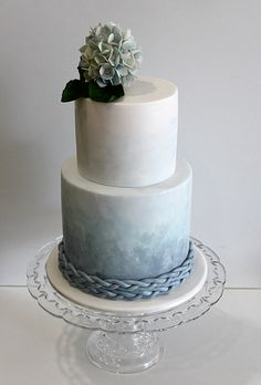 Two-Tier Blue Ombre Wedding Cake