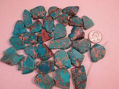 Jasper Beads, Ocean Blue Impression Jasper, Blue Slab beads $4.52 by FLcowgirls