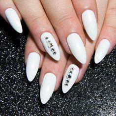 White False Nails  Chrome Press On Nails  Almond Fake Nails