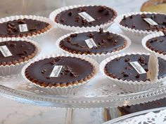 Chocolate tarts with caramelized nibs