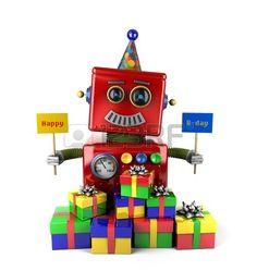 Poco feliz vendimia de juguetes robot signos holdingbirthday con regalos sobre fondo blanco Foto de archivo