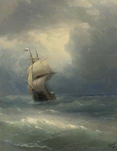 laclefdescoeurs:  Ship at Sea, 1888, Ivan Konstantinovich Aivazovsky