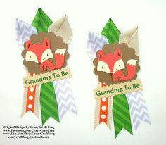 Fox Baby Shower Corsage for Grandma or Aunt or Hostess by Crazy Craft Frog #foxbabyshower #foxtheme #babyshower
