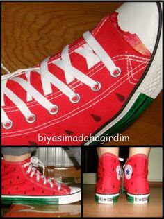 I LOVE THESE! Watermelon Converse shoes! I've never seen these before!