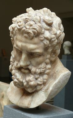 Head of Herakles, marble, Roman, Imperial period, 1st century. Copy of Greek statue of the 4th century BC.