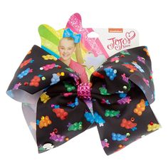 JoJo Siwa Large Black Bear-y Bow Hair Bow   This black hair bow by JoJo Siwa is covered in cute little gummy bears who themselves are wearing mini JoJo bows! It has a pink jeweled center and it decorated with pretty rhinestones all around.