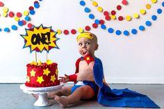#cakesmash #oneyear #superhero #babysuperhero superhero baby cake cake smash one year pictures child Photography boy comic book