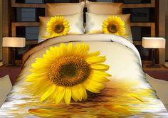 Pościele beżowe na łóżko z żółtym słonecznikiem