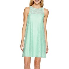 Speechless Sleeveless Lace Cutout-Back A-Line Dress ($30) ❤ liked on Polyvore featuring dresses, heart cut out back dress, green lace dress, sleeveless a line dress, sleeveless lace dress and sleeveless cocktail dress