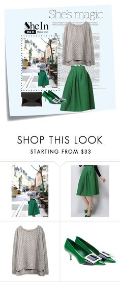 """""""Shein-Green Plaid Skirt"""" by ella178 ❤ liked on Polyvore featuring Post-It, Nicole, Givenchy, plaidskirt and greysweater"""