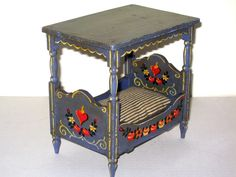 Vintage Hand Painted Dollhouse Miniature Wood Canopy Style Bed OOAK   eBay