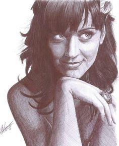 Katy Perry, biro drawing.