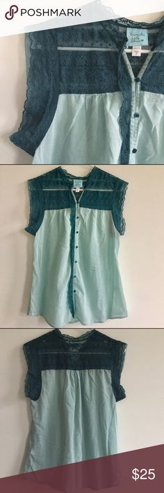 Beautiful Kimchi Blue Teal Colored Top Beautiful button up tank top that will be perfect layered with bandeau, bralette or Cami underneath. The lace edging is so pretty. No flaws to this! Perfect for spring. Listed as UO since this is one of their brands. Urban Outfitters Tops Blouses