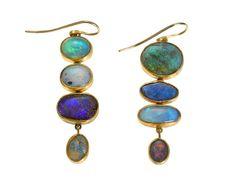 Judy Geib Plus Alpha - Catalog Totems in Opal ~ Gorgeous Buy Earrings, Opal Earrings, Crystal Jewelry, Jewelry Art, Gemstone Jewelry, Jewelry Design, Contemporary Jewellery, Modern Jewelry, Medieval Jewelry