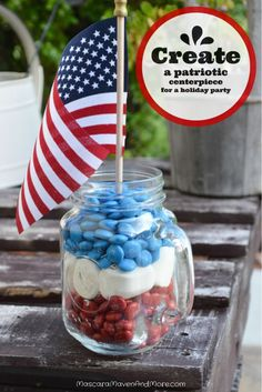 Throwing a summer party this weekend? Try these patriotic centerpieces filled with M&M'S!