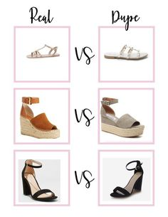 The best dupes for some of the most popular brands of shoes- Steve Madden, Target, Chloe, Valentino, and more!