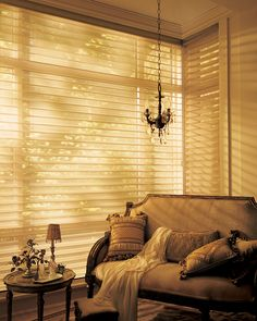 Pure brilliance.  Dress a room in sunshine with Alustra® Gold Radiance™ Silhouette® window shadings. ♦ Hunter Douglas window treatments  #bedroom